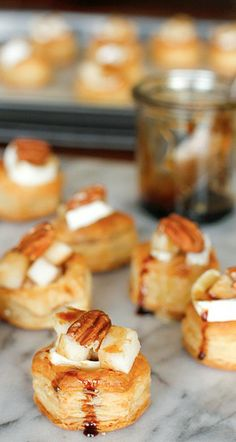 baked brie, pear, and pecan bites.....