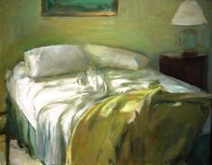 "Marc Whitney - Bed with Yellow Blanket, 24"" x 30"" Oil on Linen"