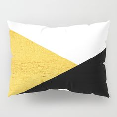 Gold & Black Geometry Pillow Sham by ARTbyJWP from Society6 #pillowsham #shams #bedroom #homedecor #goldandblack -- Our Pillow Shams merge creativity with premium fabrics, bringing unique style to your bedroom. Each design is printed on soft, fuzzy 100% polyester for rich colors and sharp images that don't fade. The reverse side is a white 50/50 poly-cotton blend with an envelope closure down the middle to keep pillows snug. Machine wash cold (no bleach), tumble dry low.