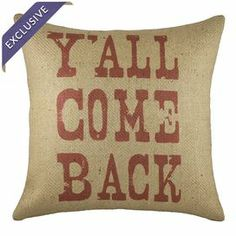 "Bring a touch of typographic flair to your sofa, arm chair, or windowseat with this lovely burlap pillow in red and beige. Handmade in the USA.   Product: PillowConstruction Material: 100% Burlap coverColor: Red and beigeFeatures:  Insert includedHandmade by TheWatsonShop exclusively for Joss & MainZipper enclosureMade in the USA Dimensions: 16"" x 16""Cleaning and Care: Spot clean only"