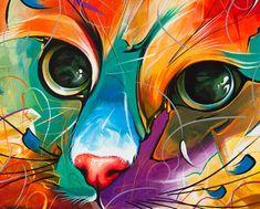 Cat Print Cat Master 18 – druckt Katze Wandkunst Katze Poster Katze Illustration Katze Kunst Haustier Wandkunst Print Katze Wand Dekor bunte Katze Original Authentic Giclée Print from my Original Painting by Naushadarts - Monde Des Animaux Lion Painting, Cat Posters, Cat Wall, Cat Colors, Abstract Wall Art, Wall Art Prints, Original Paintings, Canvas Art, Drawings