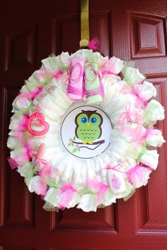 baby girl showers | front door diaper wreath this was one of the gifts that my daughter ...