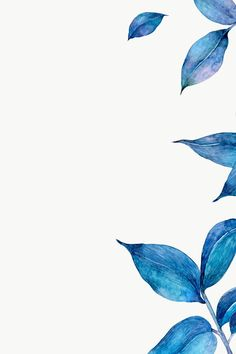 Blue Background Wallpapers, Blue Wallpaper Iphone, Flower Background Wallpaper, Flower Phone Wallpaper, Blue Wallpapers, Flower Backgrounds, Wallpaper Backgrounds, Watercolor Wallpaper, Watercolor Leaves