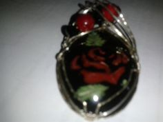 Black Obsidian with Red Painted Rose and Ox Blood Coral and Onyx Beads Wire Wrapped in Sterling Silver by MamaGotRocksJewelry on Etsy