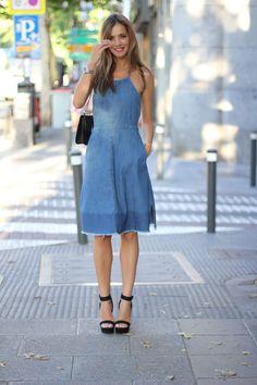 denim dress. Madrid. #ladyaddict