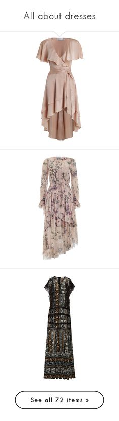 """""""All about dresses"""" by hibiscussyriacus ❤ liked on Polyvore featuring dresses, short dresses, brown dress, high low wrap dress, long-sleeve mini dresses, mini dress, high low dresses, floral midi dress, ruffle sleeve dress and long floral dresses"""