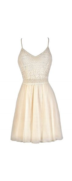 Natural Woman Cotton and Lace Dress in Cream  www.lilyboutique.com