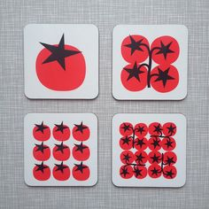 Star Tomato Coasters (set of 4) – Pop Art Scandinavian mid-century retro 60s 70s kitchenware by SuzieLondonUK on Etsy https://www.etsy.com/uk/listing/270919912/star-tomato-coasters-set-of-4-pop-art
