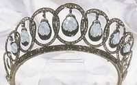 Alt view of Diamond and aquamarine tiara that belonged to Queen Ena of Spain. See earlier pin for close of up central loop.  This is the modern form.  See pins for Ena wearing it in its original design.