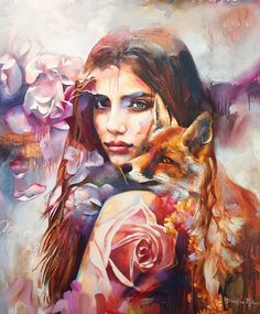 These paintings are the work of Dimitra Milan, who started painting just 4 years ago. Daughter to two artists, Milan was exposed to art from a young Painting Inspiration, Art Inspo, Dimitra Milan, L'art Du Portrait, Surrealism Painting, Artist Painting, Art Paintings, Fox Painting, Painting Of Girl