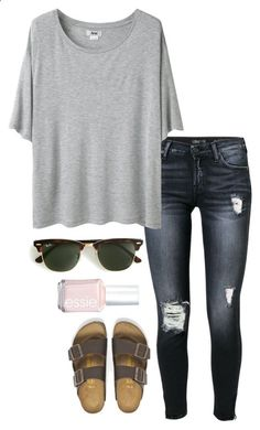ootd || shopping by helenhudson1 ❤ liked on Polyvore featuring 7 For All Mankind, Acne Studios, Essie, Ray-Ban and Birkenstock