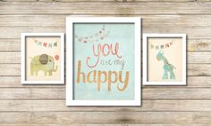 Nursery Art Set  - set of 3 digital, childs room digital prints - you are my happy - elephant and giraffe with bunting