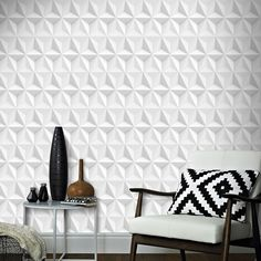 Boutique papier peint support intissé origami gravure 1005 x 52 cm blanc & gris blanc/gris Graham Et Brown | La Redoute Wallpaper, Deco, Origami Design, Furniture, Retro Wallpaper, Home, Contemporary Rug, Woven, Home Decor