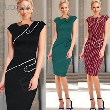 Womens Pinup Elegant Workwear Business Casual Tunic Bodycon Sheath Pencil Dress
