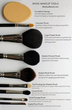 Basic Makeup Tools! See more #beautytips at bellashoot.com! #brushes #howto