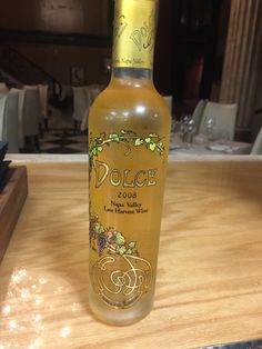 Dolce Late Harvest, Napa ('08) $23, $92 - Aromas of spiced poached pear and peach with a creamy, honeyed mouthfeel