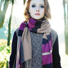 Exploded House Check Cashmere Stole - Accessories - Womens - fine cashmere clothing, accessories and knitwear Checked Scarf, Oversized Scarf, Clothing Accessories, Knitwear, Cashmere, Winter Fashion, Turtle Neck, Coat, House