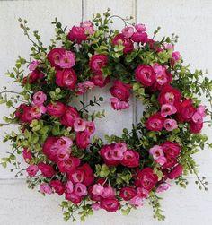 Gorgeous Pink Ranunculus Summer wreath Spring by WaysideFlor.- Gorgeous Pink Ranunculus Summer wreath Spring by WaysideFlorals Gorgeous Pink Ranunculus Summer wreath Spring by WaysideFlorals - Wreath Crafts, Diy Wreath, Tulle Wreath, Wreath Ideas, Front Door Decor, Wreaths For Front Door, Door Entry, Front Doors, Corona Floral