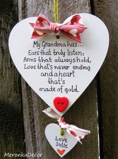 Handmade Heart No1 Grandma Mum Nanny Mothers Day Birthday Gift Sign Present 10cm