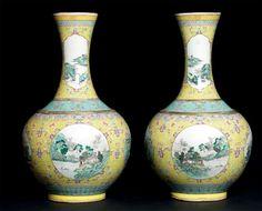 PAIRE DE VASES DE FORME «SHANGPING» Chine, dynastie Qing (1644-1912), époque…