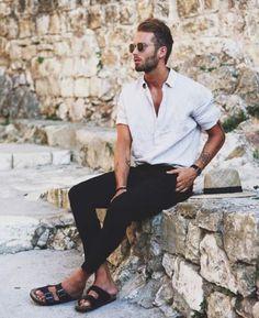 30 Beyond Classy White Shirt Outfits for Men Young Fashion, Trendy Fashion, Mens Fashion, Style Fashion, Trendy Outfits, Fashion Hair, Fashion Photo, Sandals Men Fashion, Fashion Clothes