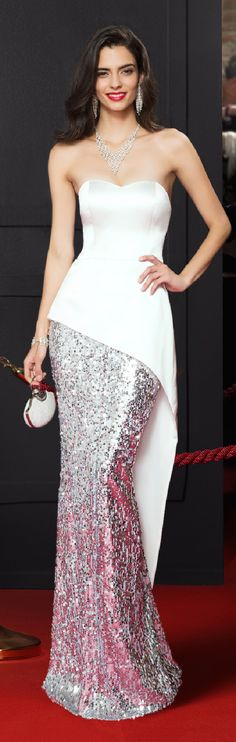 Mermaid / Trumpet Sweetheart Floor Length Satin Sequined Prom Formal Evening Dress with Sequins