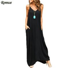 ROMWE Womens Summer Loose-Fit Maxi Cami Dresses Ladies Spaghetti Strap Casual With Pockets Sleeveless Loose Dress
