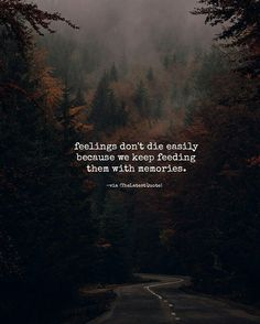 feelings don't die easily because we keep feeding them with memories. #thelatestquote #quotes