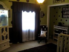Black-out draperies with shears allow just enough light to enter the room.