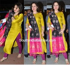 Anjali Tendulkar was spotted at the Mughal-e-Azam premiere in a full sleeved kurta paired with a purple chudidhar and ikat dupatta Indian Attire, Indian Outfits, Ikkat Dresses, Churidar Designs, Indian Gowns Dresses, Indian Designer Suits, Saree Blouse Designs, Dress Designs, Dress Patterns