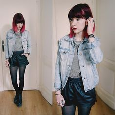 Get this look: http://lb.nu/look/7300302  More looks by Lea B.: http://lb.nu/estelonthemoon  Items in this look:  Forever 21 Jacket, Forever 21 Shirt, H&M Short   #casual #grunge #minimal