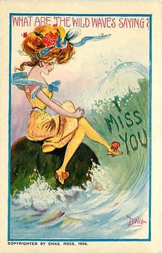 DWIG Postcard of WOMAN-WILD WAVES-I MISS YOU