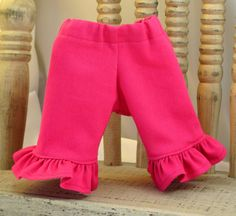 Fushia Ruffle Jeans for 12 or 13 inch Dolls by sistersdollclothes, $7.00