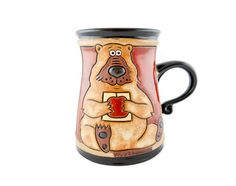 Bear with apple Mug 11oz - Handmade Ceramics and pottery | Teapots, Coffee and Tea Mugs, Vases, Bowls, Plates, Ashtrays | Handmade stoneware - 1