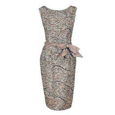 1960's Edward Abbott Metallic Silver Gold Beaded Brocade Dress