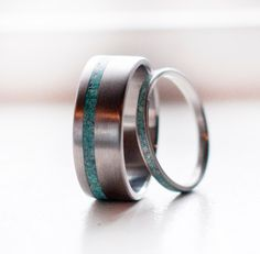 Mens Wedding Band Womens Wedding Band Matching set Turquoise Ring