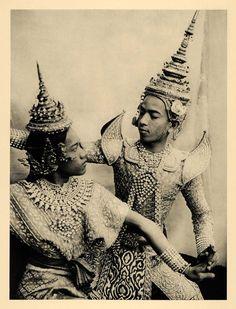 1929 Bangkok Thailand Royal Ballet Dance Hat Outfit - ORIGINAL PHOTOGRAVURE