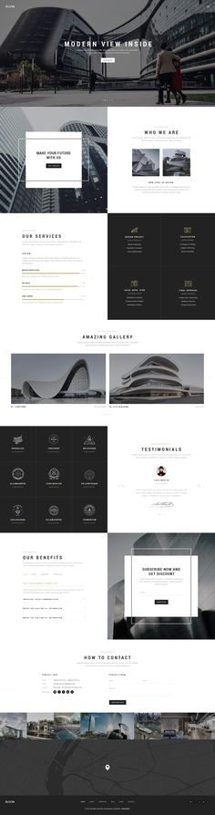 Bloom - Multi Purpose Design / Architecture / Interior / Portfolio PSD Template Bloom is minimal & creative psd template which is suit for freelancers, agency, portfolio & photographers. The designed is modern & uniqu. Layout Web, Layout Design, Portfolio Design, Company Portfolio, Portfolio Examples, Interior Design Website, Architectural Section, Best Wordpress Themes, Web Design Inspiration