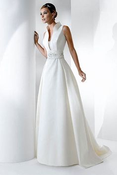 Transcendent White Sleeveless A-line Satin Dress with High Collar, Wedding Dresses - dressale.com