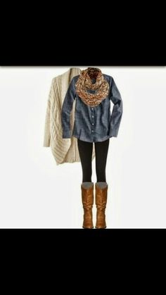 1. Skinny jeans, 2. Boots, 3. Large top, 4. Scarf... Ready for fall!