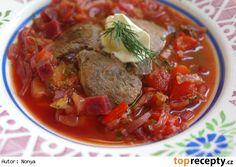 Ukrajinský boršč s pirohami Borscht, Goulash, Thai Red Curry, Stew, Ethnic Recipes, Food, Classic, Derby, Essen