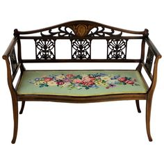 A pretty and refined inlaid mahogany settee, or bench, from the Edwardian period. Well constructed in solid mahogany and decorated with inlaid boxwood stringing throughout. With a central inlaid motif… Painting Wooden Furniture, Ikea Furniture, Cool Furniture, Outdoor Furniture, Urban Furniture, Furniture Online, Antique Furniture, Furniture Ideas, Rustic Industrial Furniture