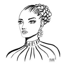 Fashion Illustration with Ink Lines Illustration Pen And Ink, Braided Hairstyles, Stripes, Watercolor, Lettering, Female, Art, Fashion, Fashion Styles