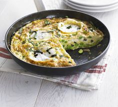 Goat's cheese, pea & bean frittata. This recipe is great for a standby supper, as you'll probably find all the ingredients in your fridge.