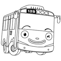 Coloring Pages And The Little Bus Tayo Sketch Coloring Page Cupcake Coloring Pages, Minion Coloring Pages, Printable Coloring Pages, Coloring Pages For Kids, Coloring Books, Captain America Coloring Pages, Bus Drawing, Bus Cartoon, Tayo The Little Bus