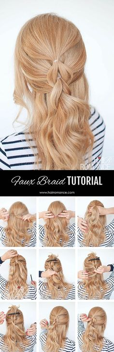 The no-braid braid - Struggling to braid your own hair? This pull through braid tutorial is your secret no-braid braid hairstyle. It gives you the look of a braid but without any braiding skills required.: