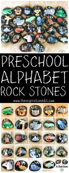 This Alphabet Learning Activity is great for kids. Paint rock stones and make Alphabet rock art to teach the letters of the alphabet to preschool and kindergarten kids. preschool by hattie Craft Activities For Kids, Preschool Crafts, Preschool Alphabet, Kids Alphabet, Alphabet Phonics, Alphabet Letters, Alphabet Crafts, Alphabet Activities, Kids Crafts