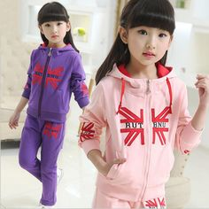 >> Click to Buy << Children girls clothes new girl sports suits 2pcs hooded zipper cotton letters outerwear jacket+pants causal kids girl sets #Affiliate