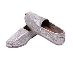 Silver TOMS Discounted Womens Glitters On Sale