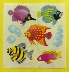 Sandylion+Assorted+Fish+Stickers+Rare+Vintage+KK399